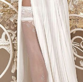Bridal Lace Top Hold-ups in White or Ivory Ballerina 255